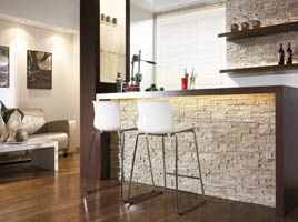 kamień dekoracyjny w salonie